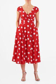 I <3 this Pleated surplice polka dot print crepe midi dress from eShakti