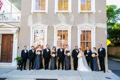Large Bridal Party // Black Tuxedos + Long Charcoal Bridesmaids Dresses // Downtown Charleston Black Tie Wedding // Dana Cubbage Weddings // Charleston SC + Destination Wedding Photographer