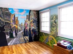 Harry Potter bedroom Harry Potter Hogwarts mural shown