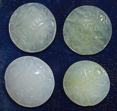 Four-Carved-Celadon-Jade-Buttons-with-Sun-and-Asian-Character-Design-Medium-25mm