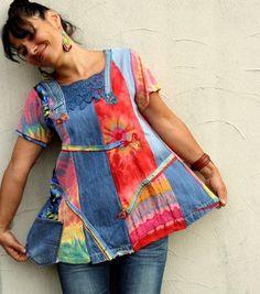 ML Пастель радуга джинсовой переработаны платье-туника с jamfashion на Etsy, $ 84.00