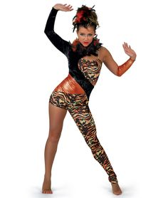 Tiger foil lycra unitard with panne velvet and sequin dot foil lycra insets. Attached adjustable strap and boa trim. Boa not colorfast, may transfer dye. Included: Mitt and boa on barrette. Show Dance, Jazz Dance, Dance Wear, Ballet Costumes, Dance Costumes, Tiger Dance, Modern Dance Costume, Afro Dance, Tiger Costume