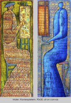 Wlad Safronov - mysticism of the everyday.  This artist is rocking my world.  Color, material, execution, a touch of lyrical whimsy with scale and line.   Wow...