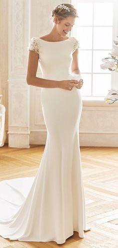 Bateau Wedding Dress, Mermaid Wedding Dress With Sleeves, Crepe Wedding Dress, V Neck Wedding Dress, Luxury Wedding Dress, Lace Dress With Sleeves, Gorgeous Wedding Dress, Mermaid Dresses, Cap Sleeves