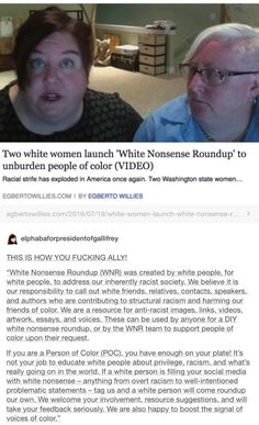"""""""Two white women launch 'White Nonsense Roundup' to unburden people of color"""" 