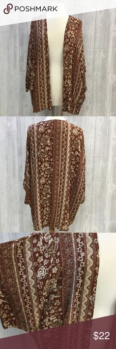 "PLUS Open Front Cardigan PLUS Open Front Cardigan, Rust & Ivory, Rayon, From Shoulder to Bottom Hem Measures 29"", New, Unworn Zenobia Sweaters Cardigans"