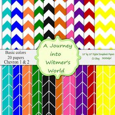 Chevron and Stripes Digital Paper Spicy Colors by DigitalPapersArt