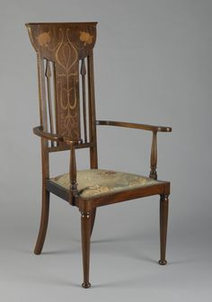 Armchair in the Art Nouveau style Medium: Mahogany, various light woods, modern upholstery Place Manufactured: England Dates: ca. 1900