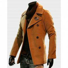 $50.99 New Style British Fashion Coattail Bifurcate and Double-Breasted Design Plaid Botton Embellish Melton Coat For Men