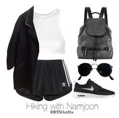 """""""Hiking with Namjoon"""" by btsoutfits ❤ liked on Polyvore featuring adidas Originals, NIKE, T By Alexander Wang, Isabel Marant, Ray-Ban and Halston Heritage"""