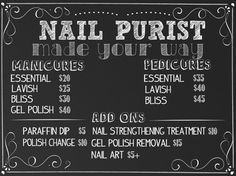 Nail Salon Sign, Beauty Salon Sign, Custom Nail Price Business Sign, Manicure and Pedicure Price List, Nail Salon Menu Sign Chalkboard Style Nail Salon Prices, Nail Prices, Home Nail Salon, Nail Salon Decor, Nail Signs, Salon Signs, Nail Room, Nail Art Studio, Manicure Y Pedicure