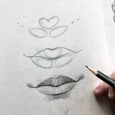 Art Drawings Sketches Simple, Pencil Art Drawings, Realistic Drawings, Eye Drawings, Pencil Sketching, Drawing Faces, Lips Sketch, Eyebrows Sketch, Drawing Eyebrows