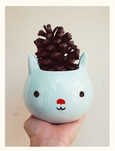Hey, I found this really awesome Etsy listing at https://www.etsy.com/listing/161848403/blue-cat-pot