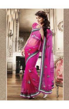Hot Pink Net Wedding Saree