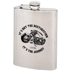 """Maxam 8oz Stainless Steel Hip Flask with Screw Down Cap by FindingKing. $19.99. Features IT'S NOT THE DESTINATION IT'S THE JOURNEY motorcycle design. Measures 3-3/4"""" x 5-1/4"""". Limited lifetime warranty. Gift boxed."""