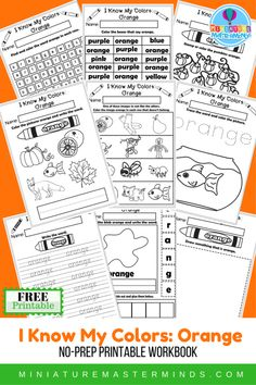 I Know My Colors Printable Work Book Series 9 Page Workbook The Color Orange ⋆ Miniature Masterminds Preschool Colors, Free Preschool, Preschool Printables, Free Printable Worksheets, Worksheets For Kids, Free Printables, Teaching Letters, Teaching Tools, Orange Book