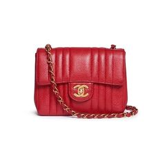 What Goes Around Comes Around Vintage Chanel quilted caviar leather... (62.775 ARS) ❤ liked on Polyvore featuring bags, handbags, red, quilted handbags, genuine leather purse, red handbags, leather purses and red leather handbags