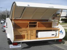 Now this is tailgating!    Custom Wood Teardrop Trailer