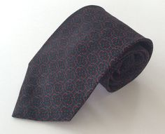 Parrish Neck Tie Black Red Turquoise Geometric 100% Silk #Parrish #NeckTie