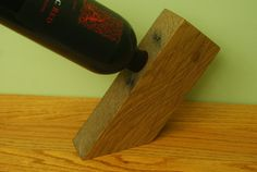 Reclaimed Rough Sawn Single Bottle Wine Rack Antigravity Balancing