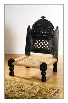 Indian carved low piddi chair. Antique -URGENT ...