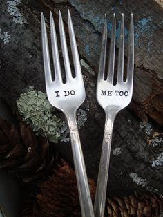 I Do Me Too Fork Set   Hand Stamped  by ForSuchATimeDesigns, $15.00