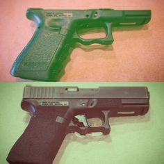 Hand Street Heaters before & after stippled glock Glock 19 Glock