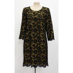 Women Vintage Dress Yellow and Black