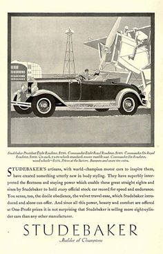 Studebaker Motor Car Big Six Vintage color poster photo AD print South Bend,1926