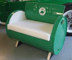 Drum Works Furniture unique custom made furniture from recycled 55 gallon steel drums - Vintage Gasoline Brand Chairs