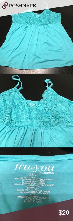 Cacique - Turquoise Cami with Lace Detail Adorable and comfortable turquoise cami sleep too from the Tru to You collection by Cacique. Cute floral lace detail on bust. Willing to take offers. Lane Bryant Intimates & Sleepwear Pajamas