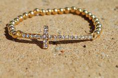 Side Cross Bracelet Gold Long by StringofLove on Etsy, $24.00
