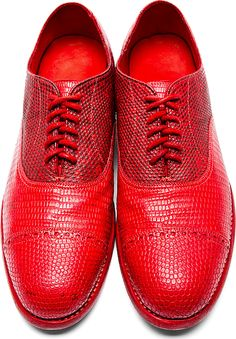 Christian Peau: Red Lizardskin Quarter-Brogue Oxfords