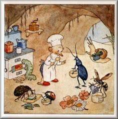 Bug friends helping a gnome in the kitchen. :) (Ida Bohatta-Morpurgo)