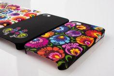 Etui na iPhone 4 czarne FOLK FLOWERS - tradycyjna wycinanka łowicka - kolorowe kwiaty, folk, etui folk
