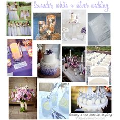 """lavender, white and silver wedding inspiration board"" by pinkletandc"