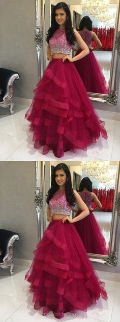 Two Piece Prom Dresses,Long Prom Dresses 2018,Modest Prom Dresses For Teens,A-line Prom Dresses Scoop Neck, Tulle Tiered Prom Dresses For Girls #promdress