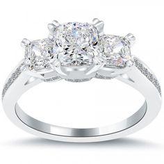 3.01 Ct. E-VVS2 Three Stone Cushion Cut Diamond Engagement Ring Set In Platinum - Three Stone Engagement Rings - Engagement - Lioridiamonds.com