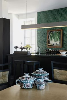 katehume.com - Manoir France, 17th Century French manor house w Heijden Hume pieces, vintage finds & classic upholstery - green mosaic kitchen wall