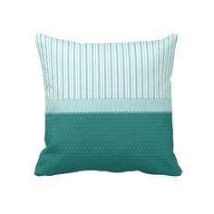 Aqua Teal Turquoise Blue Stripes Polka Dots Throw Pillows.  $63.50