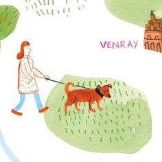 Another crop of the illustrated map I did for @mestmagazine #10. By Marjolein Schalk. #illustratie #illustration #illustratedmap #map #plattegrond #hond #dog #brabant #venray