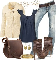 Great fall outfit. The jeans look like they would be flattering and the top and sweater are a great color combo.