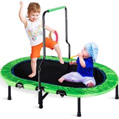 Merax Mini Rebounder Trampoline with Handle for Two Kids, Parent-Child Trampoline (Green Cover) Rebounder Trampoline, Indoor Trampoline, Trampoline With Handle, Laundry Room Wall Decor, Advice For New Moms, Backyard Play, Easy Food To Make, Kids And Parenting, Cool Things To Buy