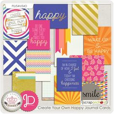 Create Your Own Happy Journal Cards by Cluster Queen Creations and Juno Designs at Scrap Orchard
