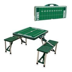 Spartan Football table! This portable Picnic Table Sport is a compact fold-out table with bench seats for four that you can take anywhere. Choose one of our popular sports-themed designs: 901-Football, 980-Soccer, 981-Football Field, or 982-Poker. The legs and seats fold into the table when collapsed so the item is easy to store and transport. Great for anyone looking to have an awesome time!