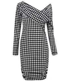 Black White Houndstooth One Shoulder Long Sleeve Bodycon Dress - Off The Shoulder Dresses - Dresses