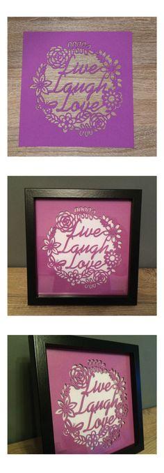 Live laugh love framed paper cut art