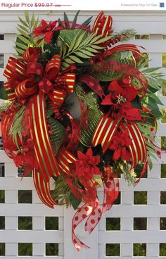 Wreaths for Christmas Door Wreath Full of Deco Mesh Ribbons Lime Red Velvet Front Door Wreath Lush Greenery via Etsy.
