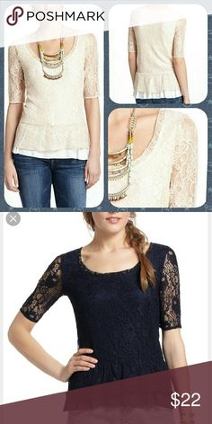 """Anthropologie Ruffled Peplum Top by Deletta Rayon, nylon  Hand wash  21.5""""L  Style No. 25059783  Navy colorway. Size medium. Excellent condition. Anthropologie Tops Blouses"""