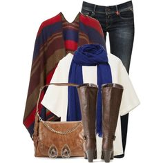 A fashion look from January 2015 featuring silk shirt, topshop cape and boot cut jeans. Browse and shop related looks.